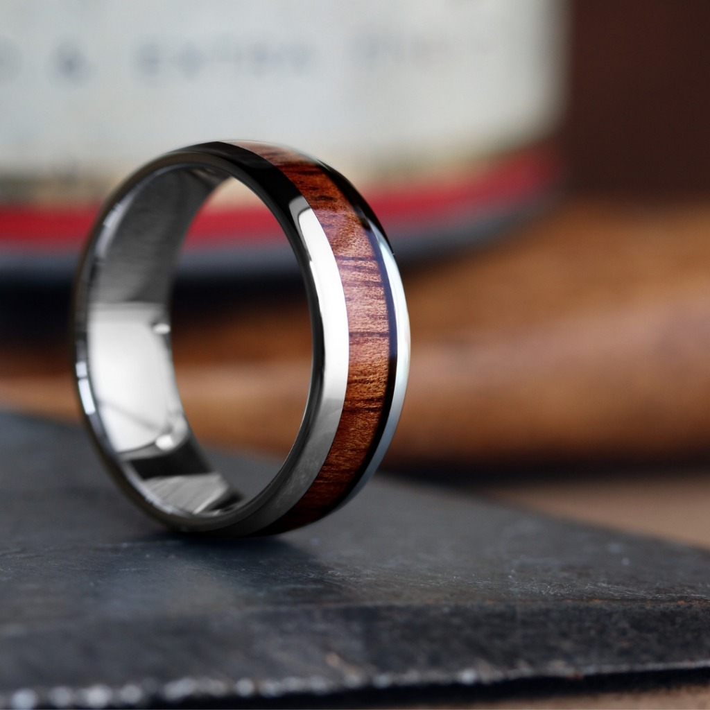 The Classic Wooden Wedding Ring. Silver tungsten carbide core inlaid with natural koa wood. This wooden wedding ring is super comfy