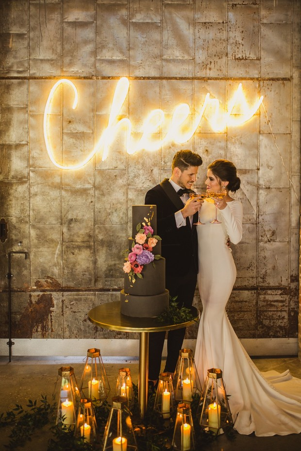 cheers neon wedding sign