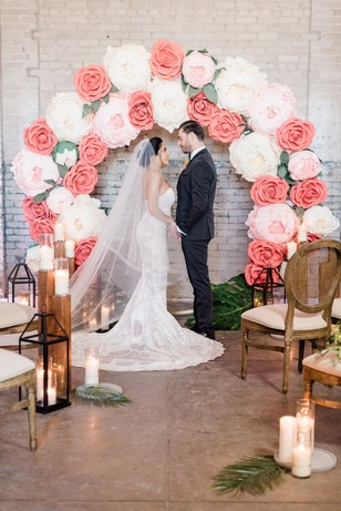 giant paper flower wedding ceremony arch