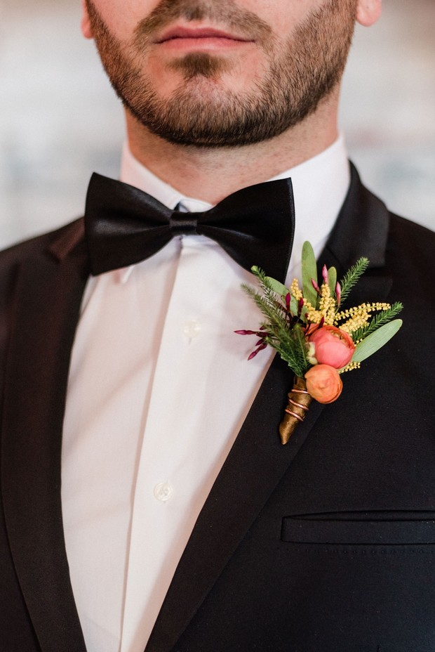 bright and colorful boutonniere