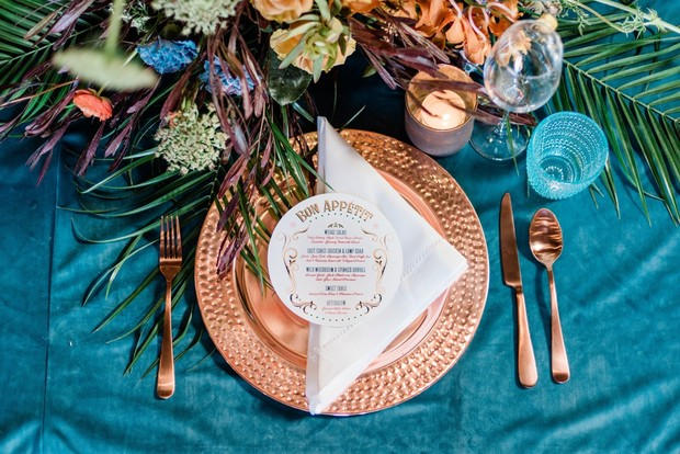 copper and teal blue wedding place setting
