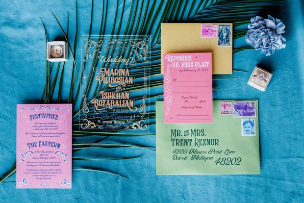 fun and funky summer vibes wedding invitation suite