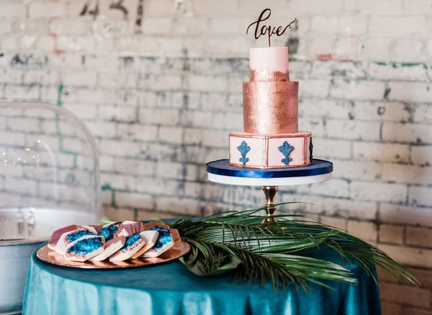 copper and blue dessert table