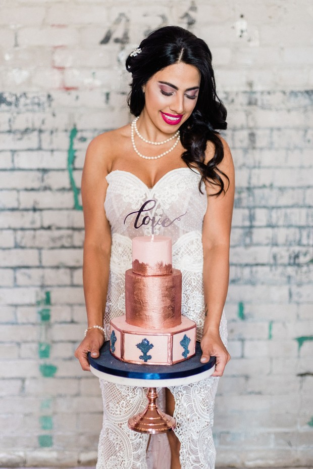 copper and blue wedding cake