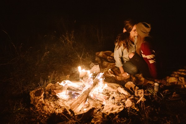Relaxed Full Moon Campfire Engagement Session