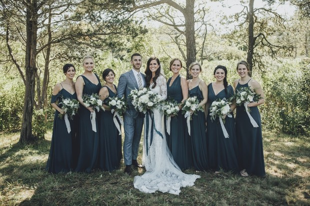 bridesmaids in storming blue dresses
