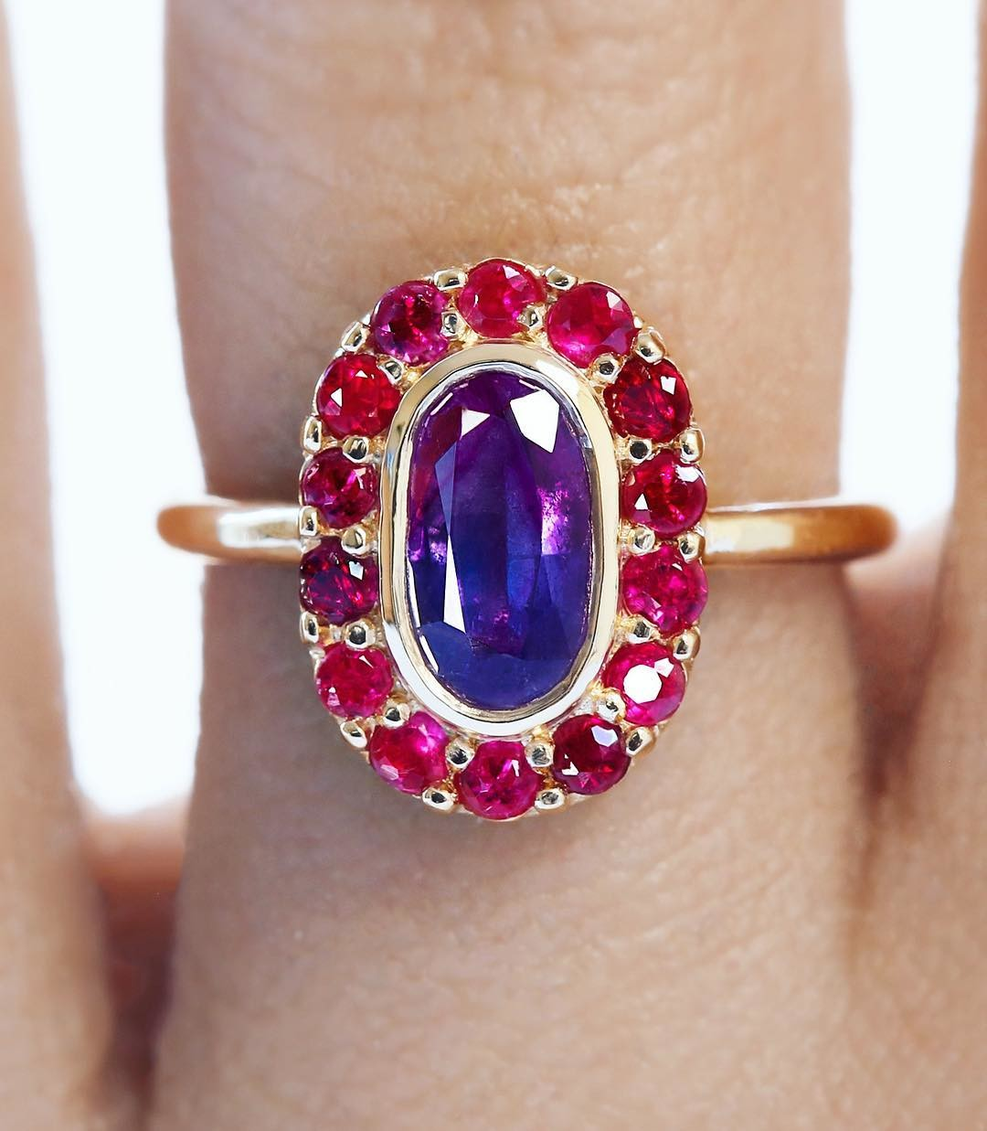 🙈 Rare and almost otherworldly... I am pleased to share this amazing Tri-Color Natural Sapphire and Ruby Ring. Hand selected, this