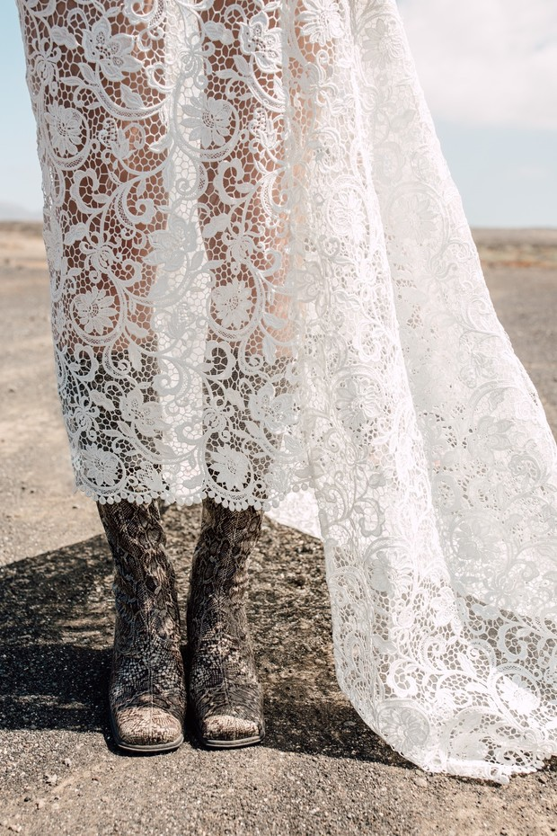 lace wedding dress and boots