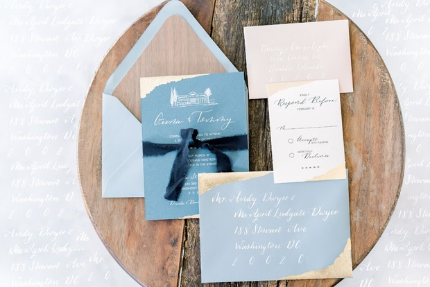 blue and gold wedding invitation suite