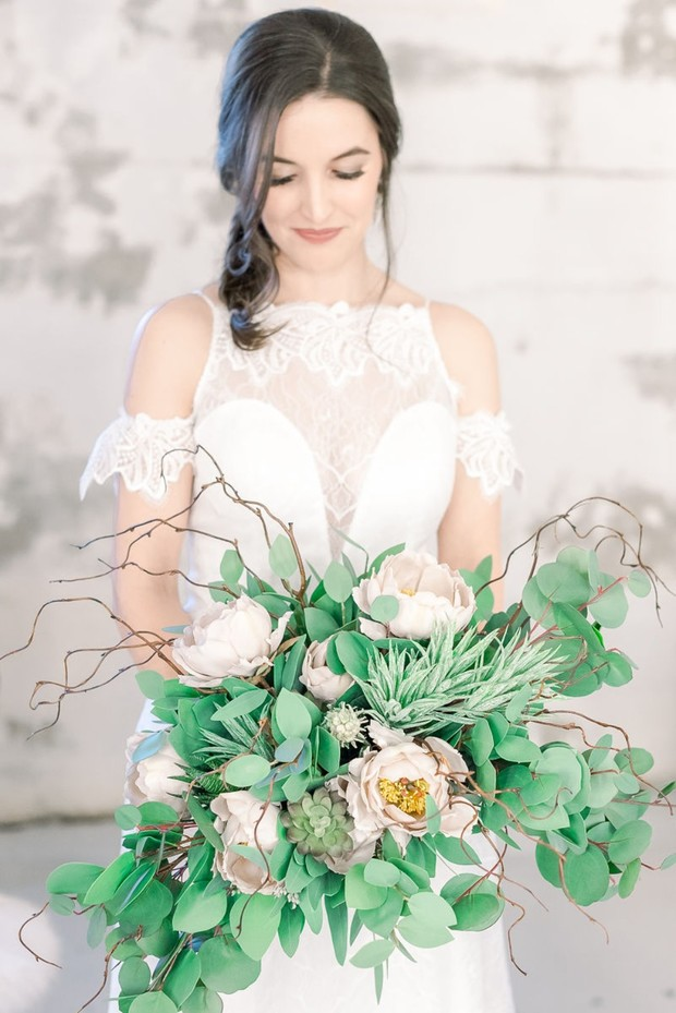 chic ivory and green wedding bouquet