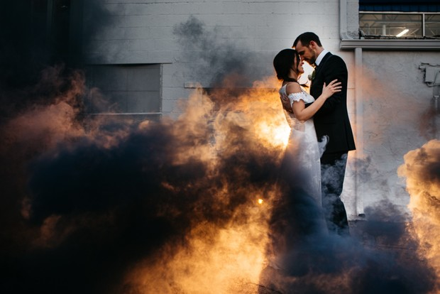 Smoke bomb wedding portrait