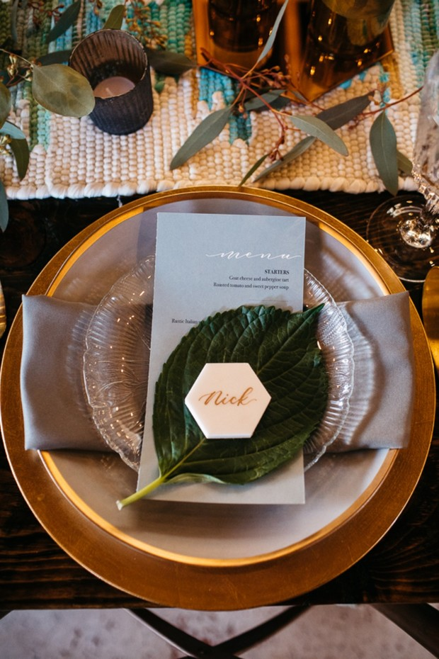 modern gold and white wedding place setting
