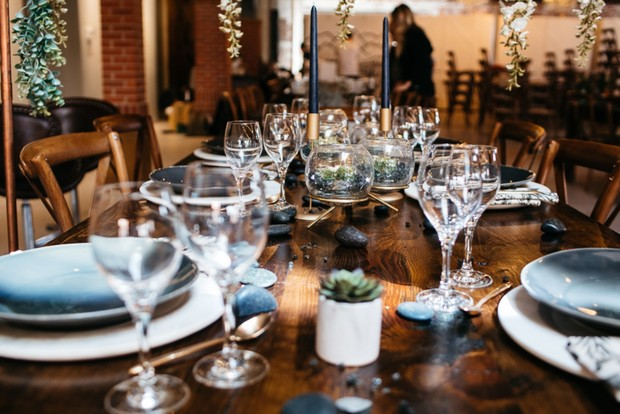 simple and chic grey and white wedding table