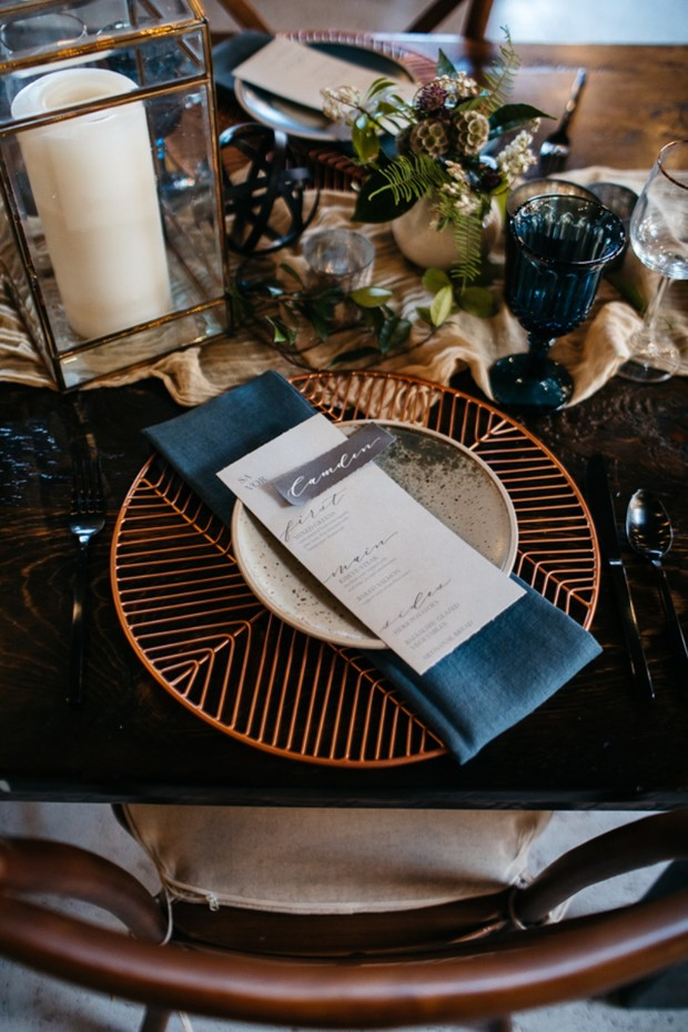 modern retro themed wedding place setting