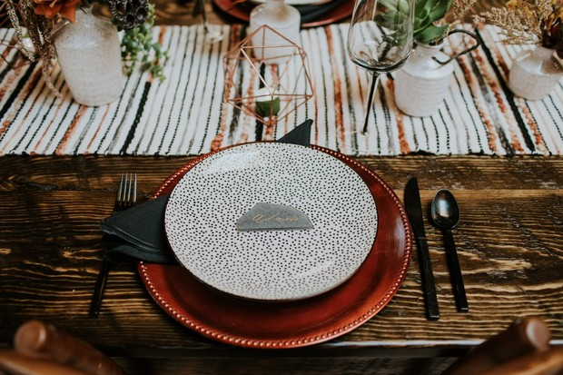 modern retro chic wedding place setting