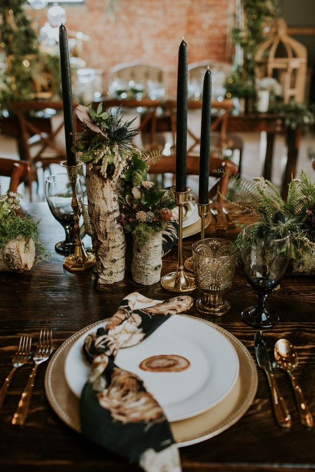 rustic chic gold and black wedding table setting