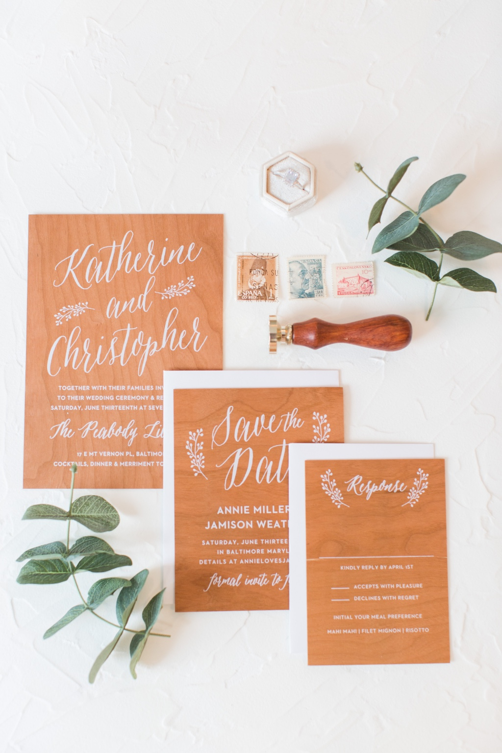 Our Floral Calligraphy Real Wood Wedding Invitation Suite will be something your guests never forget!