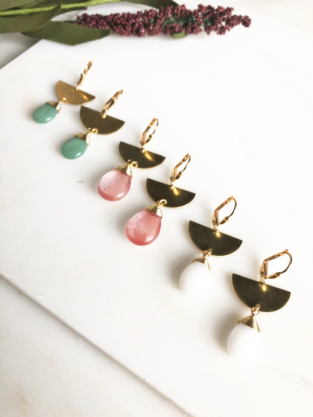 Sweet colorful half moon and teardrop earrings. Ear wire is gold plated brass.