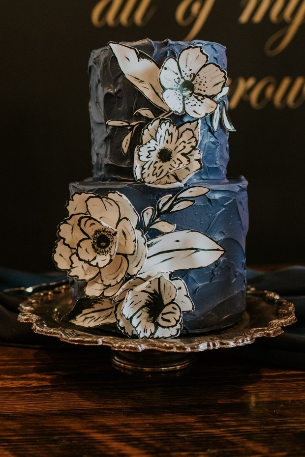 graphic floral wedding cake