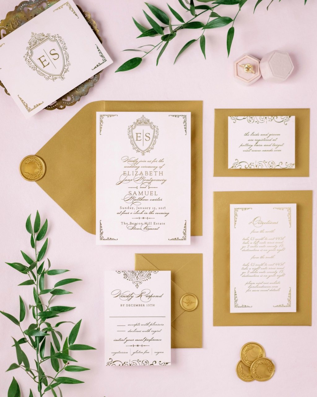 Our Scrolling Monogram Foil Wedding Invitation Suite is perfect for your classic nuptials! A little touch of gold foil make a big impression