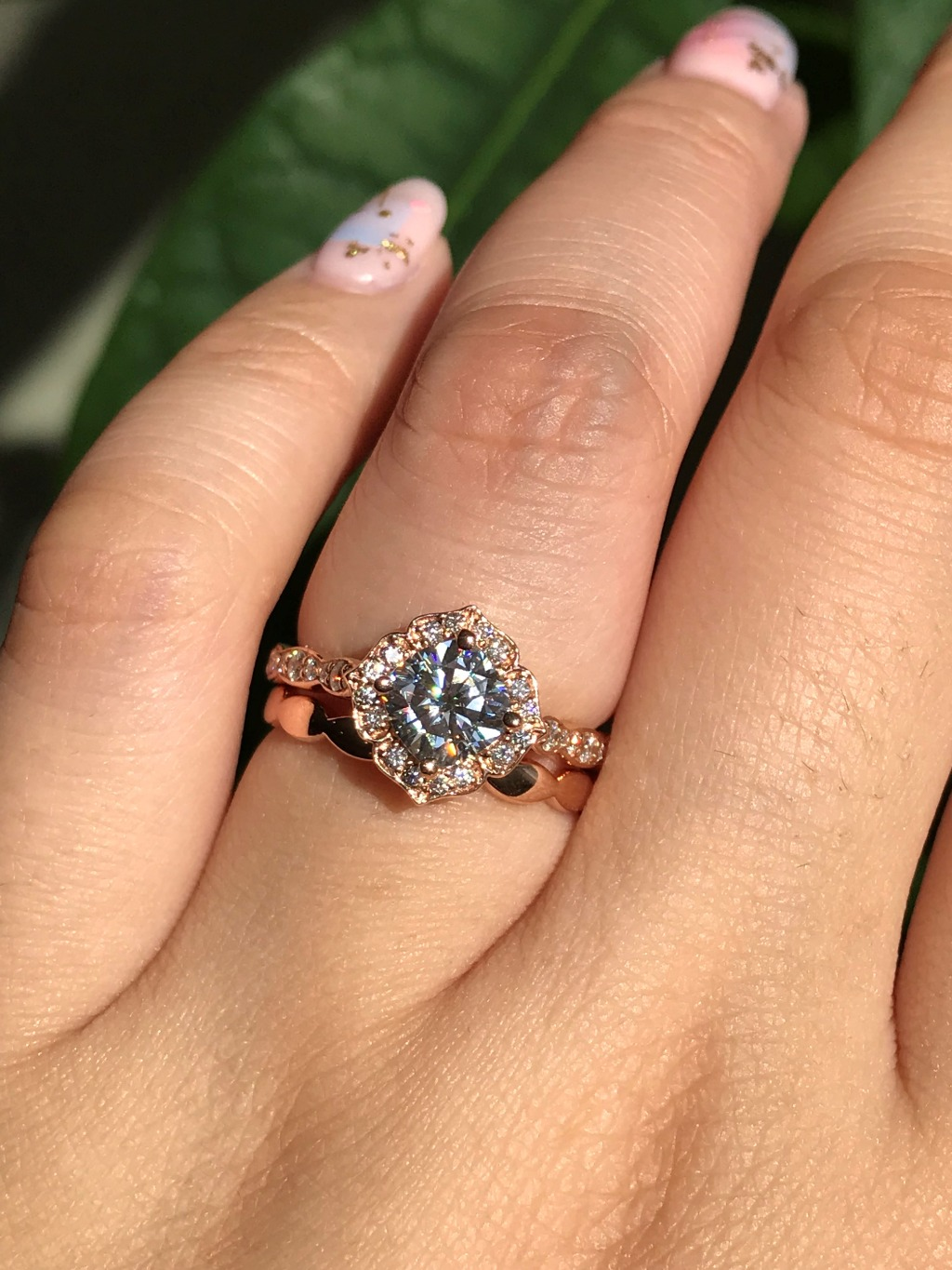 Mini Vintage Floral Moissanite Bridal Set with Plain Gold Scalloped Band in Rose Gold ~ See more from La More Design's Wedding Rings