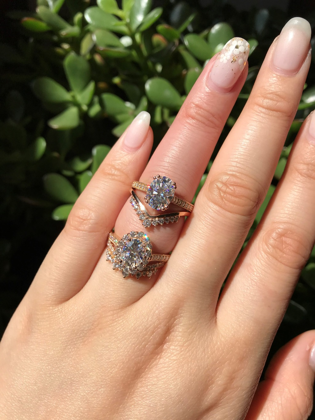 Halo or Solitaire? What is your favorite style from these two bridal sets, both in Rose Gold by La More Design? On top is our Grace