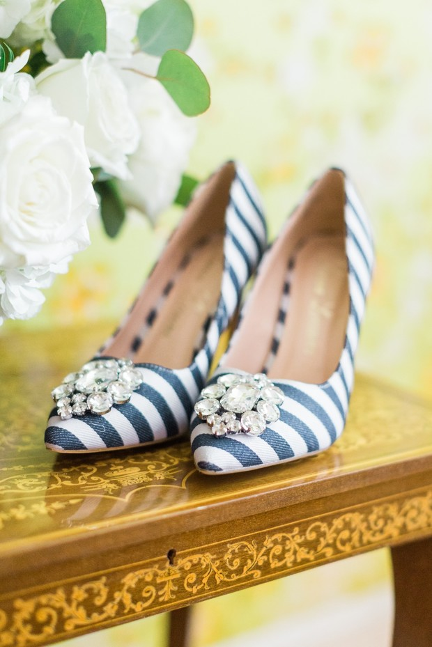 bold stripped wedding shoes