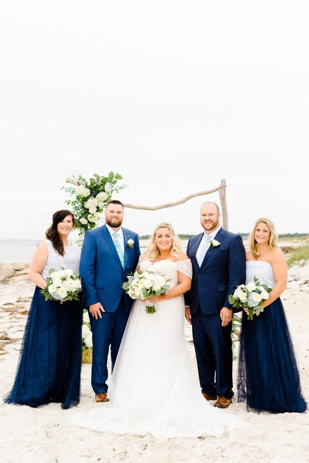 navy blue cape cod wedding party