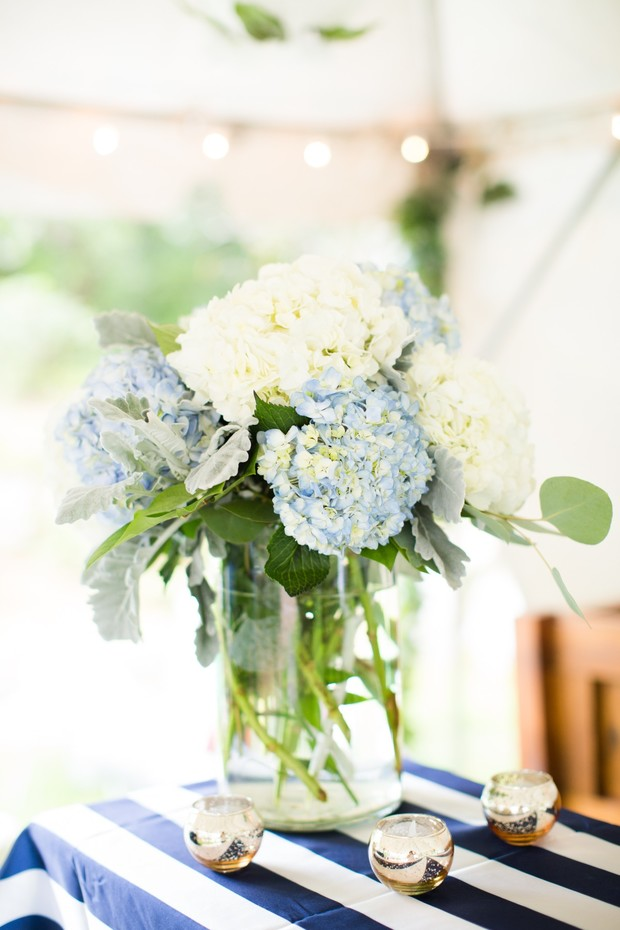 bold stripes and blue and white hydrangea