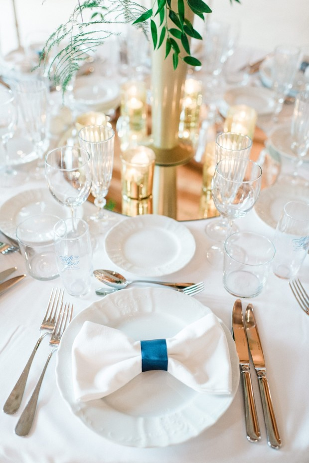 navy and gold wedding reception
