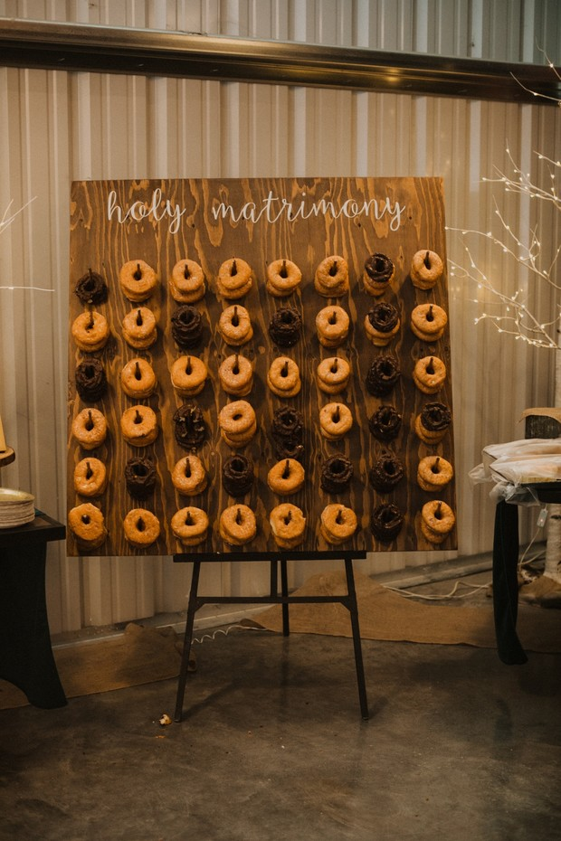 cute holy matrimony donut display