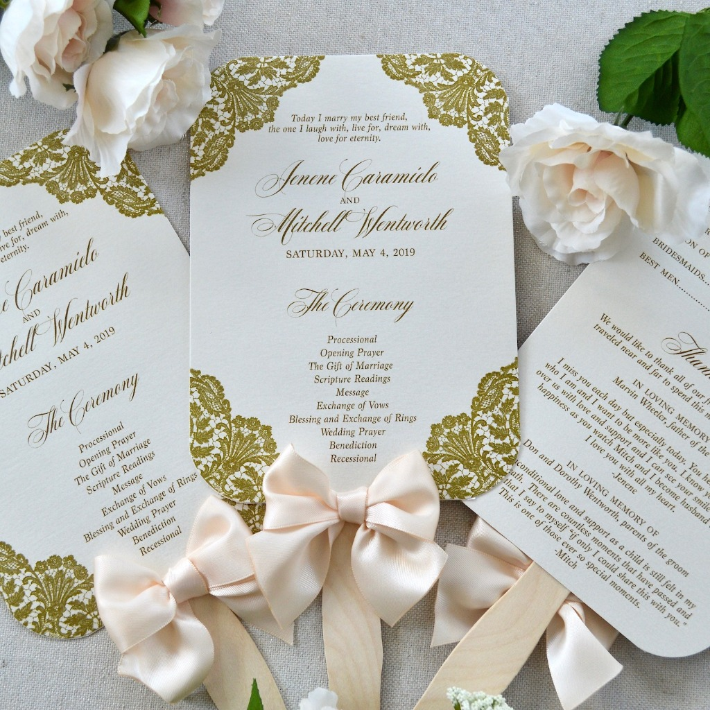 Make your wedding programs beautiful and functional. They can be personalized in so many whimsical ways and keep your guests cool.