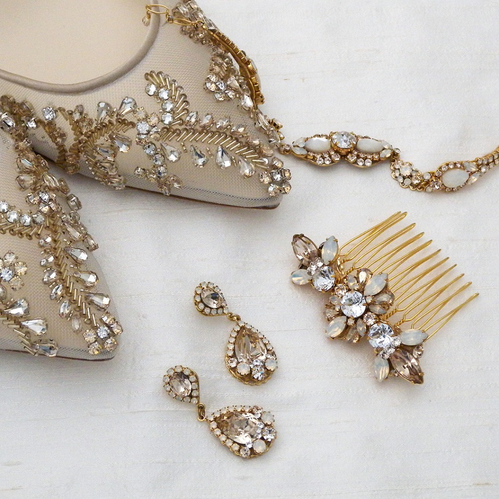 Champagne sparkle! Bella Belle Frances wedding shoes joined by Haute Bride Jewels & Hair Comb. Bridal Accessories you can wear