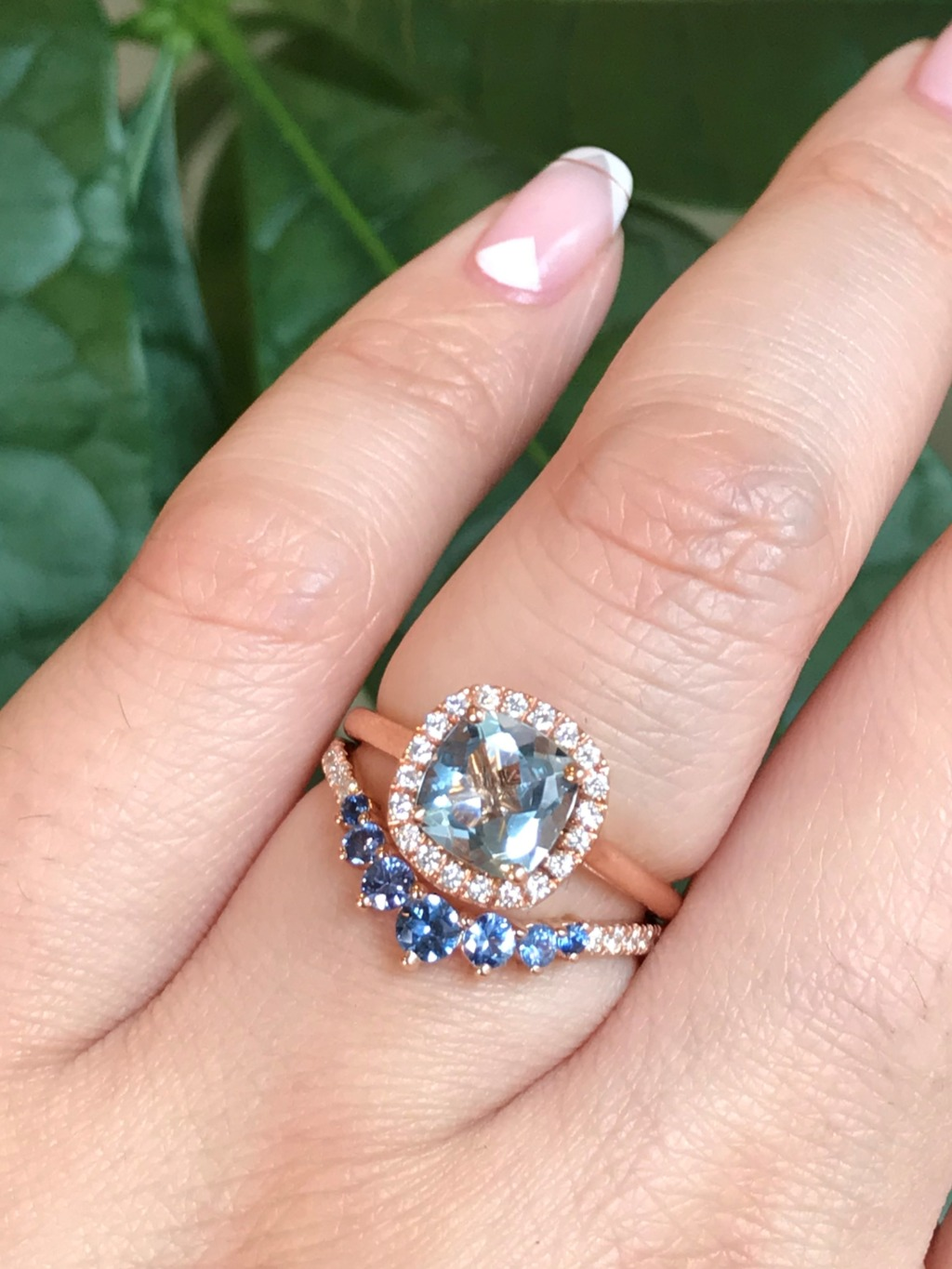 Aquamarine + Aqua Blue Sapphire, it's only right they belong together in a bridal set ~ On top is a Cushion Cut Aquamarine Halo Engagement