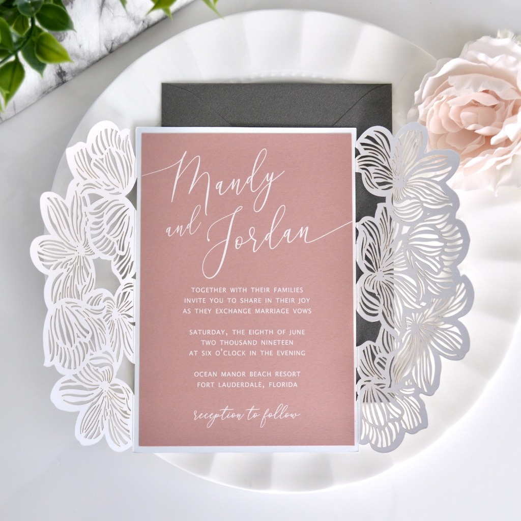 Stand out with these exquisite white ink on dusty rose invitations. Shop these and customize at our shop