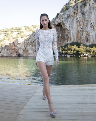 beaded lace romper by Demitrios Destination Romance collection