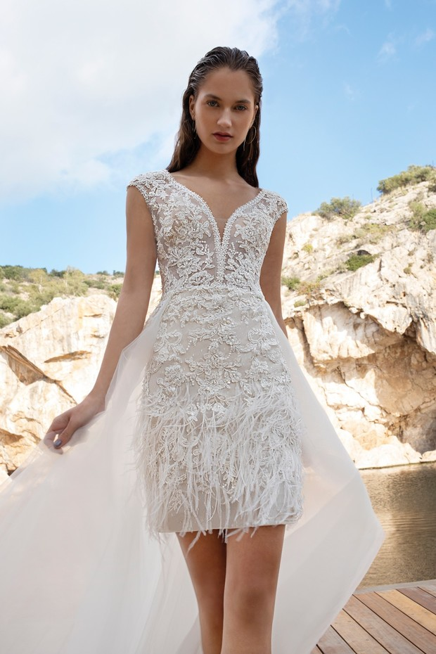 feather and beaded cocktail dress by Demitrios Destination Romance collection