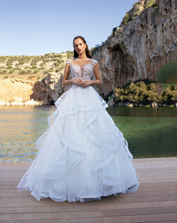 tiered ruffled dress by Demitrios Destination Romance collection