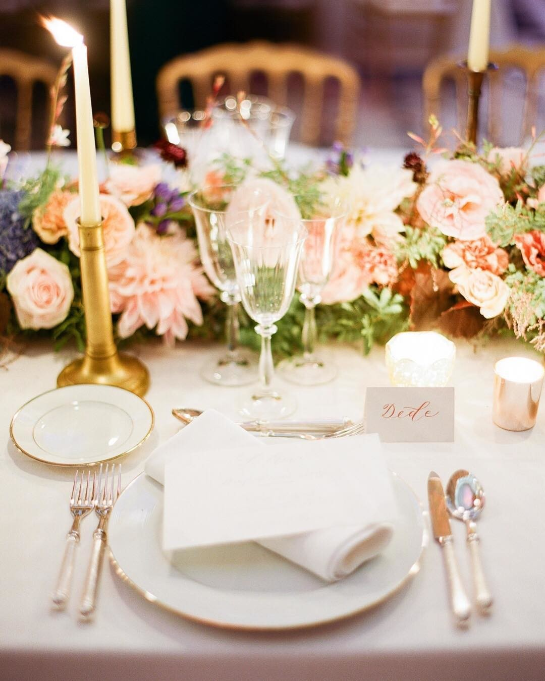 Love the warm glow of this table detail shot for an intimate yet grand affair