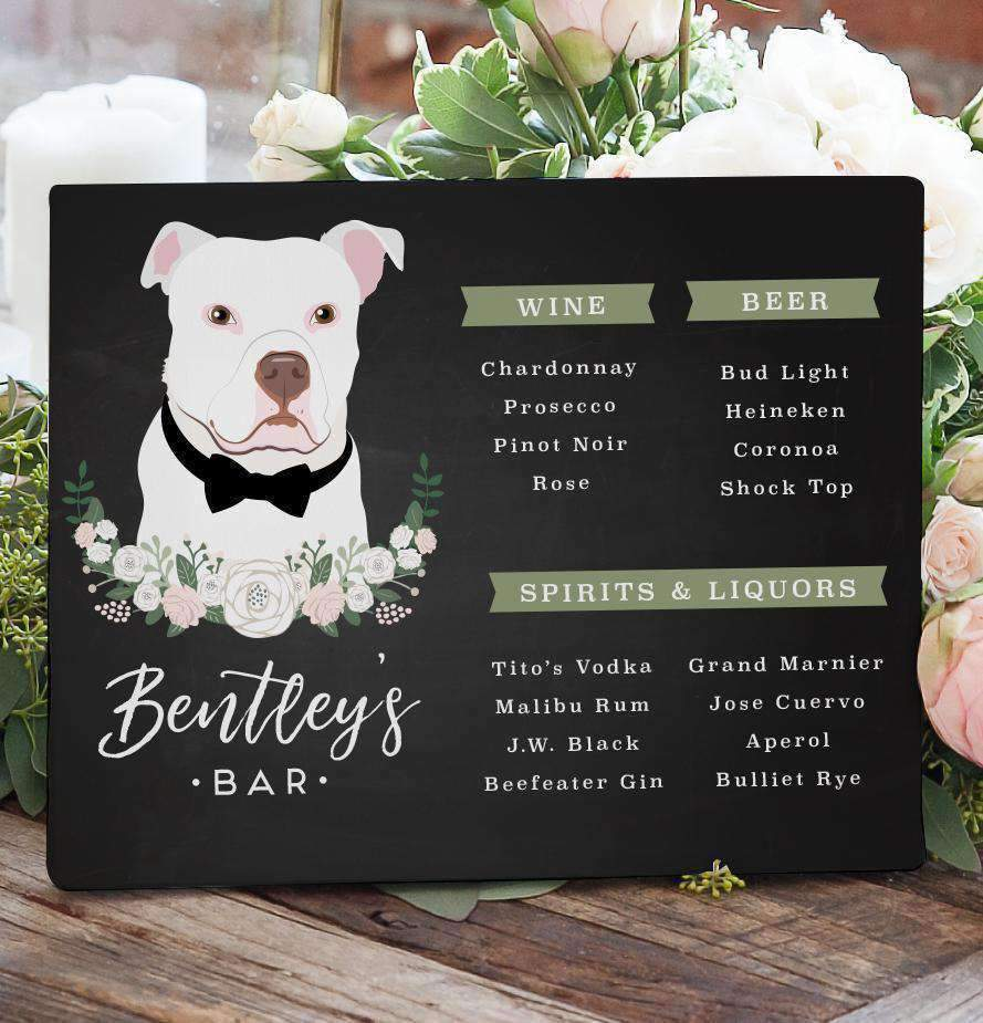 Our chalkboard wedding bar sign features your beer, wine, and spirit menu with an illustrated portrait of your pet!