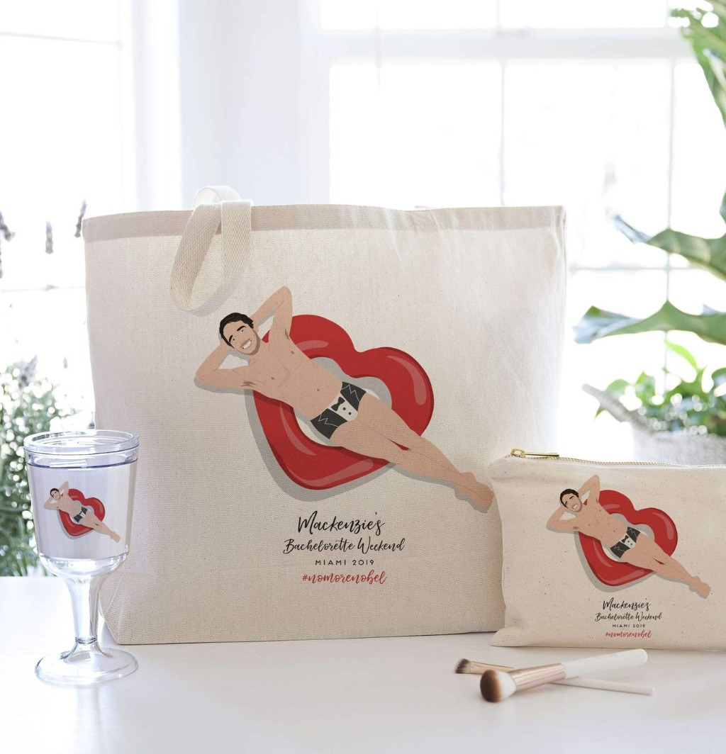 This gift set is the most fun thing you can possibly give any bride to be! Included a are a large canvas tote bag, small tolietry bag