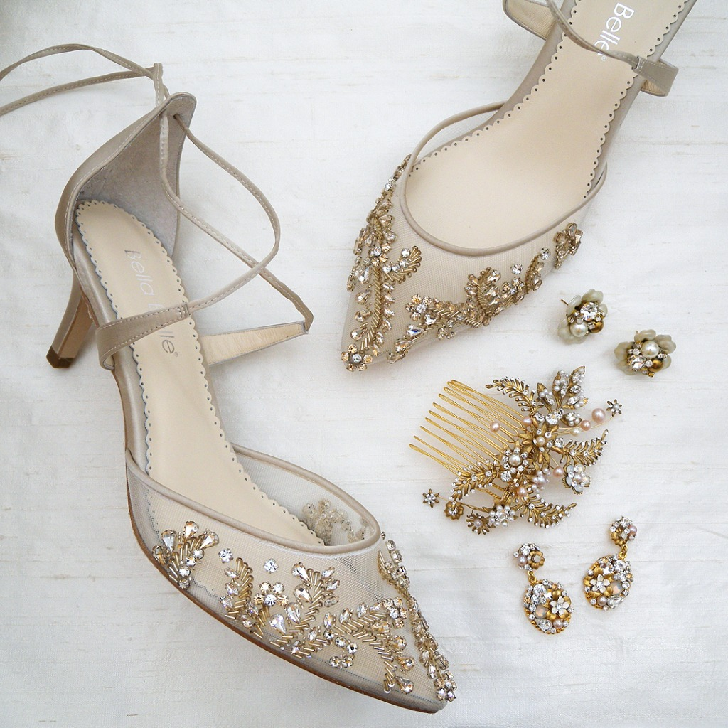 Everything you need after the dress. Shoes, Jewelry, Headpieces & more. Shown: Bella Belle champagne beaded shoes, Erin Cole jewelry