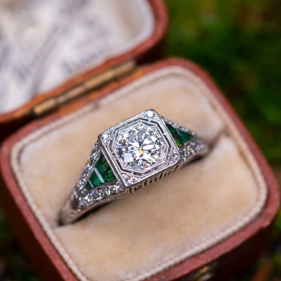 Transitional Cut Diamond Art Deco Engagement Ring