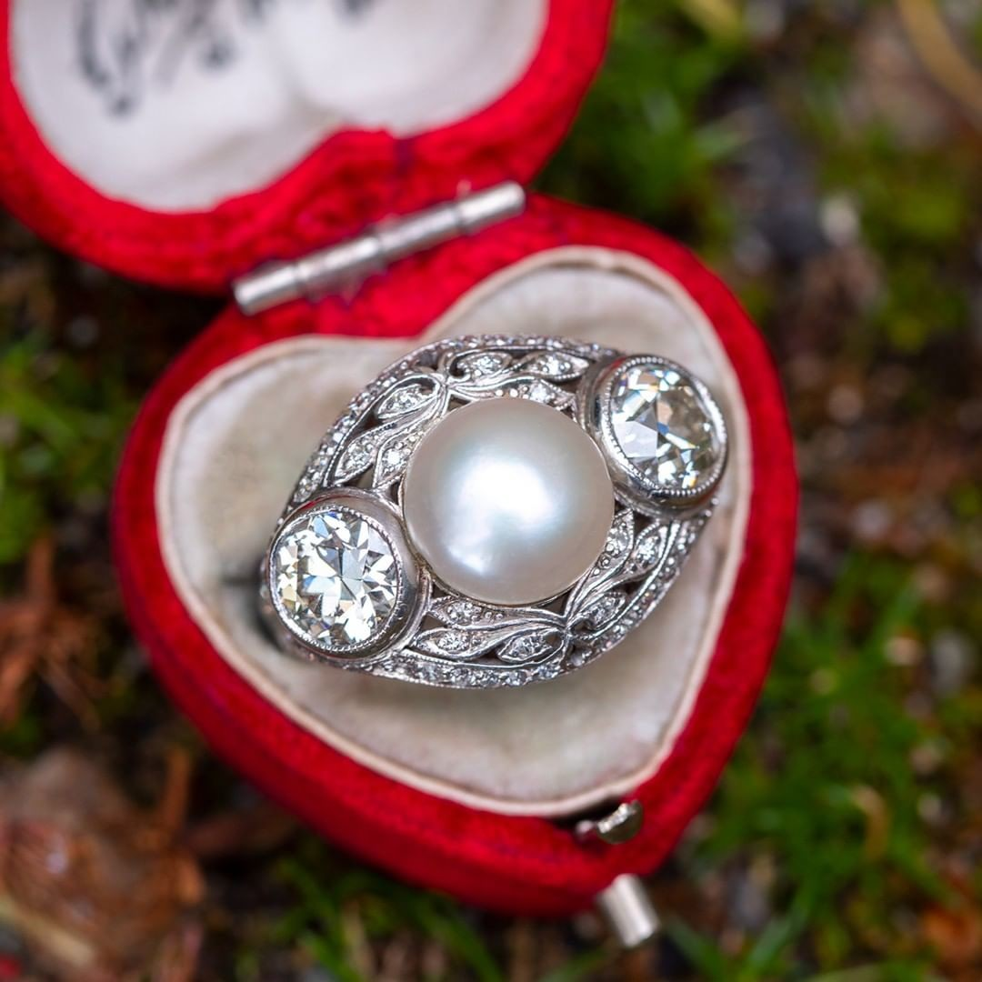 Circa 1910s Edwardian Natural Pearl & Old Euro Diamond Ring