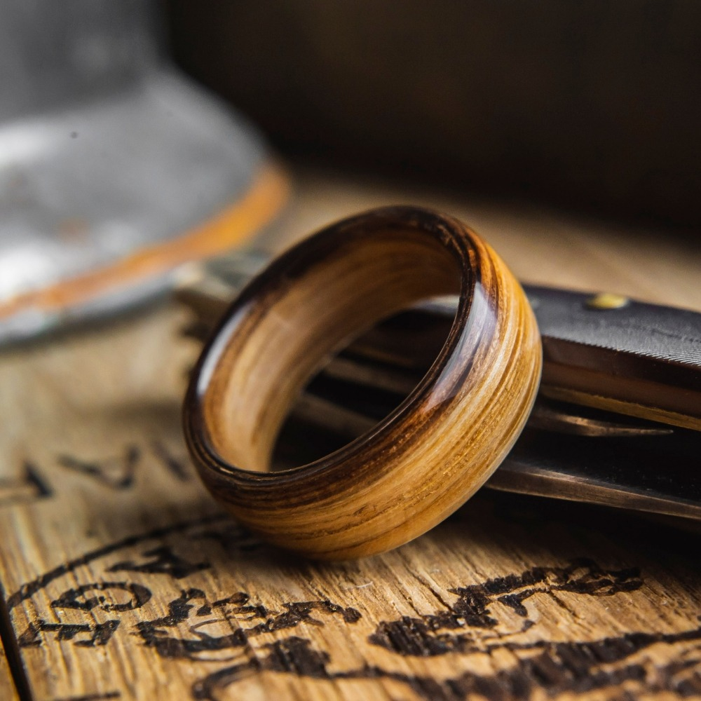 Mens Whisky Barrel Ring. Handcrafted from a real whisky barrel. This mens wedding ring can be customized to your own liking. There