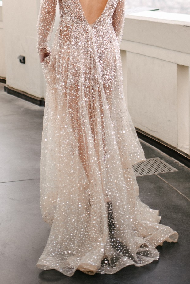 sheer wedding dress with tons of sprarkles