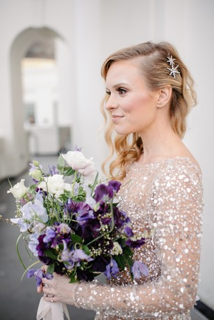 side swoop wedding hair and star hair accessories