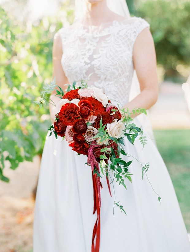 red and burgundy wedding bouquet