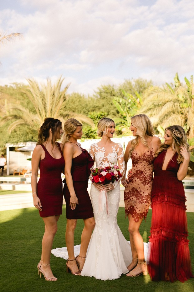 mismatched bridesmaid dresses in red