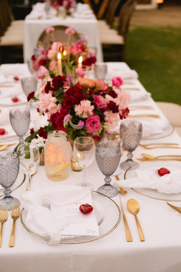 red and gold reception table